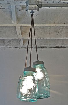 Mason jar simple light fixture.