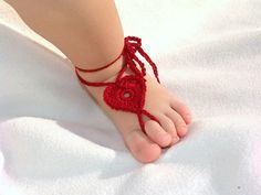 2 pairs Baby Heart Barefoot sandals Baby shoes Dark Red by Lasunka, €6.00
