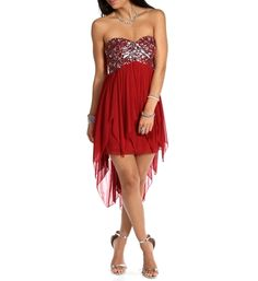 Promo-Florie- Red Strapless Hi Lo Dress