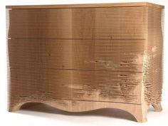 Gareth Neal CNC Furniture (furniture, wood, natural, lines, layers, eroded)