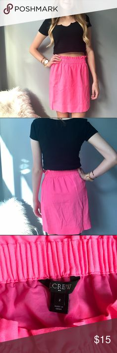 J.Crew Bright Pink High-Waisted Skirt Elastic waist skirt. Good length and thick quality fabric. J. Crew Factory Skirts