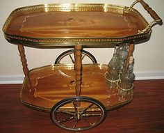 Soro Italian Style Inlaid Serving Cart Beverages Furniture Vintage Marquetry Wood Bar