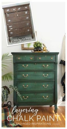 refurbished furniture Empire Dresser Painted in Layered Chalk Paint Before and After Redo Furniture, Refurbished Furniture, Painted Furniture, Paint Furniture, Furniture Inspiration, Furniture Makeover, Shabby Chic Furniture, Empire Dresser Makeover, Furniture Design