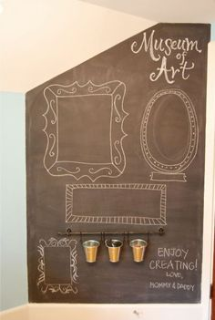 Chalkboard Wall found on Felt So Cute. Chalkboard paint and IKEA Fintorp caddy system. Love the buckets! Chalk Wall, Chalk Board, Chalk Paint, Deco Restaurant, Chalk Holder, Framed Chalkboard, Chalkboard Wedding, Chalk It Up, Attic Rooms