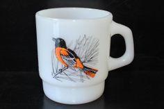 Fire King Chickadee Baltimore Oriole Mug Cup Milk Glass Vintage