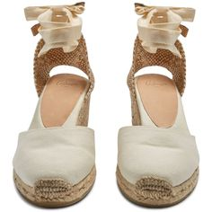 Castañer Carina canvas wedge espadrilles ($72) ❤ liked on Polyvore featuring shoes, sandals, white canvas shoes, canvas espadrilles, white wedge sandals, espadrille sandals and canvas wedge espadrilles