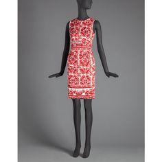 DOLCE & GABBANA Majolica Print Draped Sheath Dress ($2,795) ❤ liked on Polyvore featuring dresses, red, print sheath dress, red draped dress, sleeveless dress, sleeveless print dress and red sleeveless dress
