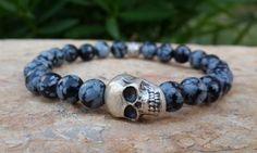 Men's Matte Onyx Skull Bracelet Tribal Spiritual Meditation Yoga Japa Mala Jewelry, Mens Trend Bracelet, Men Beaded Bracelet, Free Shipping by Braceletshomme