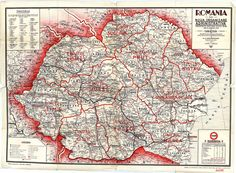 Romania with the new administrative and tourism organization august History Of Romania, Historical Maps, World History, Vintage World Maps, Culture, Life, Romania, Geography, Cards