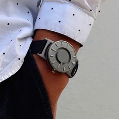 The Bradley by Eone is available with a black fabric strap and a titanium case. #watches #design