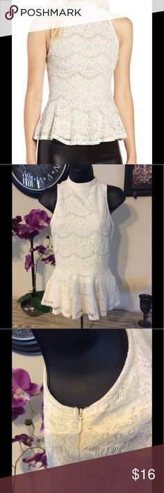 """Lace Peplum Top Gorgeous Top for any occasion! No big stains or rips. Under arms have a slight pink hue maybe from washing. Should come out with tlc and is hardly noticeable. Great stretch and fit. Rayon, cotton and nylon Blend. 15"""" from armpit to armpit and 24"""" long. love, FIRE Tops Blouses"""