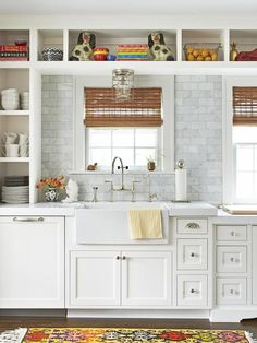 Love The Open Cabinets + Marble Backsplash Over The Sink.
