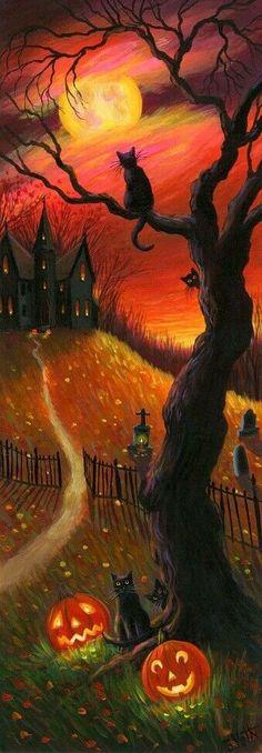 Halloween Night, Spirit Halloween, Diy Halloween, Halloween Pumpkins, Halloween Makeup, Gouache, Best Haunted Houses, Cat Pumpkin, Halloween Party Invitations