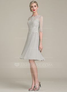 A-Line/Princess Scoop Neck Knee-Length Zipper Up Sleeves 1/2 Sleeves No Other Colors General Plus Chiffon Lace Height:5.7ft Bust:33in Waist:24in Hips:34in US 2 / UK 6 / EU 32 Mother of the Bride Dress