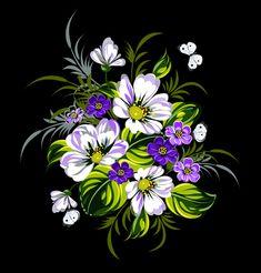 Beautiful flower retro vector graphics 03