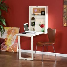 Wall Mounted Desk Hideaway Folding Computer Laptop Table Home Office Convertible #SouthernEnterprises #Modern