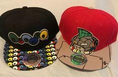 Lot Of 2 City Hunter Is Eyeballs Robot Strapback Hat Caps Black Red  104  4ffbedb7fe5d