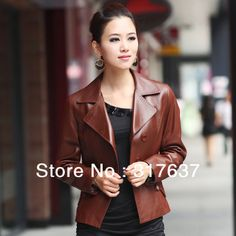 On Sale 2014 Hot Sale Classic Female Solid Black/Brown Blazer Genuine Leather Short Jacket For Spring & Autumn Free Shipping(China (Mainland))