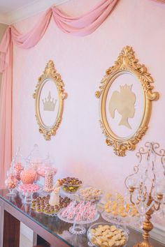 Princess For A Day Party. Love the pink and gold of this princess birthday party! These cameo-inspired decorations are beautiful, hung over an elaborate candy buffet. Golden Birthday, Girl First Birthday, 3rd Birthday Parties, 4th Birthday, Birthday Ideas, Hawaiian Birthday, Birthday Table, Princess Theme Party, Disney Princess Party