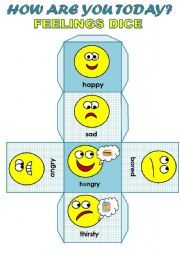 English worksheet: HOW ARE YOU TODAY? - FEELINGS DICE FOR YOUNG LEARNERS (EDITABLE!!!)
