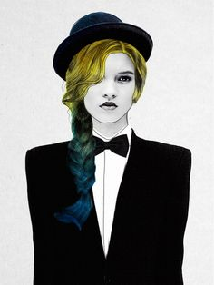George Art #Print, Jenny Liz Rome: women with colorful hair & suit