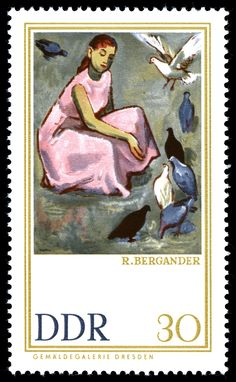 Plea on the pigeons by Rudolf-Bergander. Stamp of Germany (DDR), circa 1967