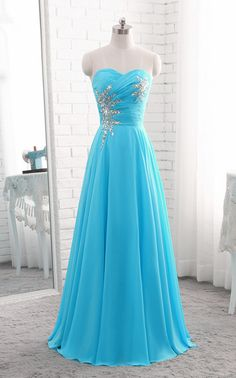 Blue Chiffon Beaded Chiffon Long Prom Dress Long Formal Gowns, Junior Prom Dresses***when you order please tell me your phone number for shipping needs .(this is very important )*** The sizes for it * Pretty Prom Dresses, Junior Prom Dresses, Prom Dresses 2018, Cute Dresses, Evening Dresses, Sexy Dresses, Turquoise Prom Dresses, Sleeveless Dresses, Prom Gowns