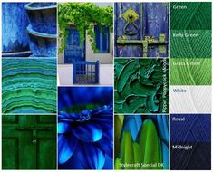 Kleurinspiratie Blues and Greens / Pippin Poppycock Yarn Color Combinations, Colour Schemes, Color Trends, Blue And Green, Green Colour Palette, Color Balance, Design Seeds, Crochet Art, Colour Board