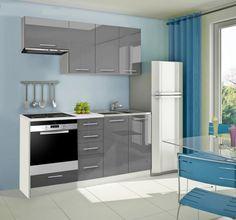 Mondeo - Kuchyňský blok B, 180 cm (šedá, lesk) | Jena nábytek