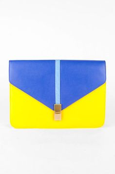 Push the Envelope Clutch in Blue and Yellow $32 at www.tobi.com