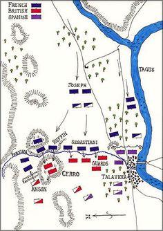 Map of the Battle of Talavera in the Peninsular War.  Wellington against Joseph Bonaparte.