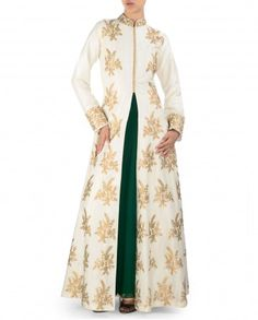 SVA BY SONAM & PARAS MODI: Aari Embroidered Ivory Anarkali Jacket Set - $655