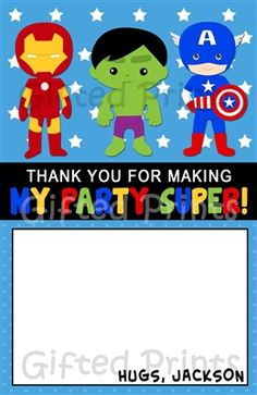 Superhero Thank You Card Superhero Thank You Cards, Birthday Thank You Cards, Printable Thank You Cards, Free Thank You Cards, Super 4, Themes Free, 1st Birthday Parties, Customer Service, Birthdays