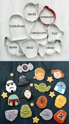 Holiday cookie cutters into Star Wars characters! I know who I'm making cook - Star Wars Ewok - Ideas of Star Wars Ewok - Holiday cookie cutters into Star Wars characters! I know who I'm making cookies for next Iced Cookies, Cute Cookies, Royal Icing Cookies, Cookies Et Biscuits, Holiday Cookies, Cupcake Cookies, Sugar Cookies, Owl Cookies, Star Wars Torte