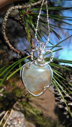 Heart Shaped Carved Ocean Jasper Sterling by KarmicSutraCreations