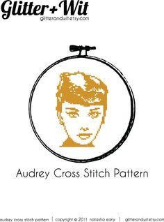 Audrey Hepburn Cross Stitch Pattern PDF by GlitterAndWit on Etsy, $3.00
