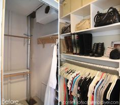 Closet Before and After. Tutorial on Confessions of A Serial DIYer.
