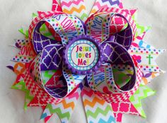 Jesus Loves Me Boutique Hair bow by AllThingsGirlyBows on Etsy, $8.00