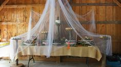 outdoor wedding desert table. would be great to put a net over the food and part it like a veil for service and help keep bugs off before