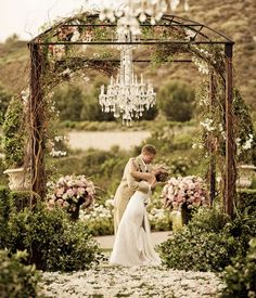 beautiful altar decorated in flowers and vines for an outside wedding, chandelier by dukek Wedding Ceremony Ideas, Wedding Trends, Outdoor Ceremony, Outdoor Weddings, Ceremony Arch, Wedding Gazebo, Wedding Canopy, Garden Weddings, Wedding Altars