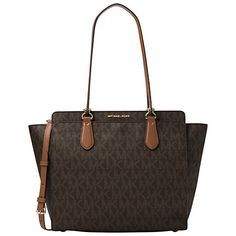 Buy MICHAEL Michael Kors Dee Dee Large Convertible Leather Tote Bag, Brown…