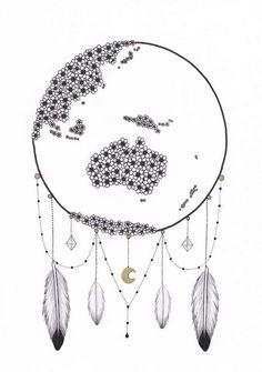World Globe Dream Catcher  #dreamcatcher #worldglobe #feathers #art #drawing #prints #etsy #boho #moon #crystal