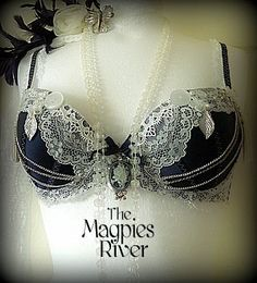 Lushious Navy Satin and White Lace Bra - Vintage, Steampunk, Dance, Burlesque, Fusion Belly Dance