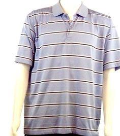IZOD Cool FX Short Sleeve Light Blue Black White Striped Golf Polo Shirt Men's L #IZOD