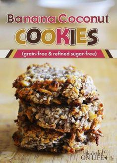 Grain-Free Banana Coconut Cookies {bananas, unsweetened shredded coconut, walnuts & raisins}