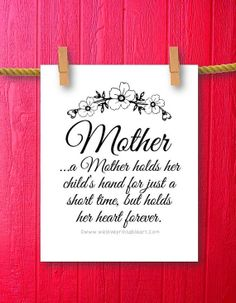 Mothers Day Gift for Mom Framed Quotes Print by WeLovePrintableArt