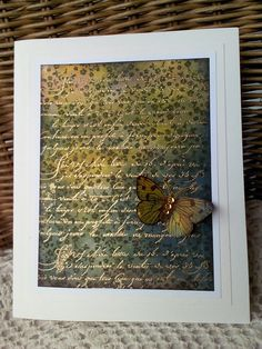 card by Franziska.... gold script 3 layer card... butterfly just sets it off!