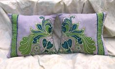Items similar to 2 Vintage Art Nouveau Hand Dyed Green Batik Pillows, Bohemian Hand Painted Cushions, with initials for wedding, engagement or other occasion on Etsy Cushion Inspiration, Drawing Process, Personalized Pillows, Some Pictures, Vintage Art, Art Nouveau, Vintage Inspired, Initials, Fabrics