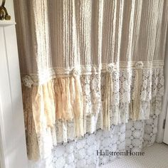 Love lace in the bedroom/bathroom mixed in   When decorating our homes or buying a special gift for someone, this beautiful soft tan chenille shower curtain is sure to please. Made with many layers of lace and crochet ruffles, along with burlap