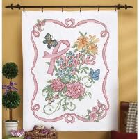 Herrschners® Ribbon of Hope Lap Quilt Top Kit Stamped Cross-Stitch Kit